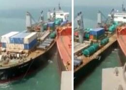 VIDEO Bulk carrier U GLORY collided with anchored bulk carrier Kandla Gujarat